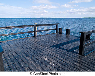 Small wooden jetty dock deck