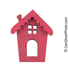 Small wooden red house isolated on white with clipping path