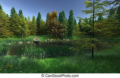View across a woodland lake to a small wooden jetty, 3d digitally rendered illustration