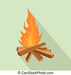 Small woods fire icon, flat style