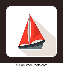 Small yacht icon, flat style