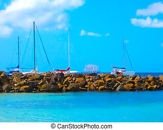 Small Yachts on the coast of Martinique. Image blurred in ...