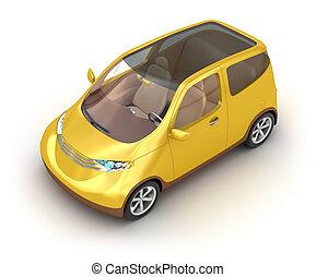 Small yellow car on white - Small yellow car on white...