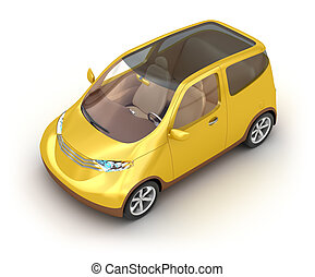 Small yellow car on white - Small yellow car on white...