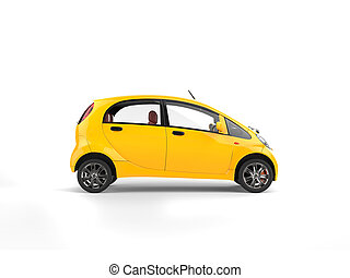 Small yellow electric modern car - side view