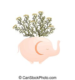 Small yellow wildflowers in an elephant-shaped vase. Vector illustration on white background.