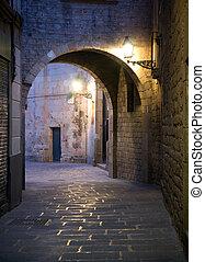 smalle straat, in, barcelona