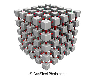 smaller cube mesh - An isolated gray interconnected cube...
