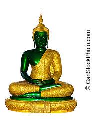 smaragdgroen buddha, voor, regenachtig