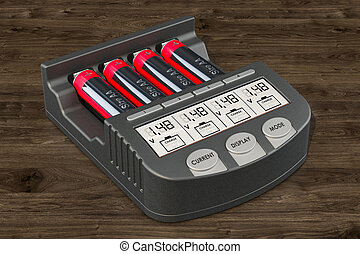 Smart AA AAA Battery Charger with batteries on the wooden background,  3D rendering