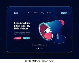 Smart advertising online concept, Loudspeaker Megaphone isometric icon, promotion social media dark neon