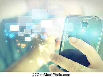 smart, affärsman, mobil, användande, tel.