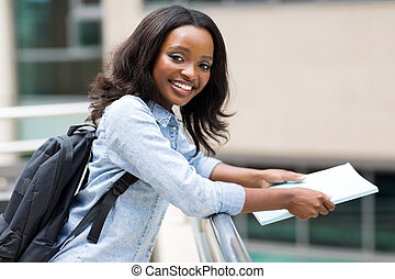african american college student on campus