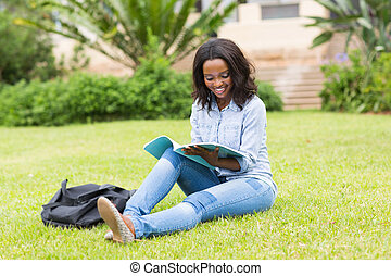 african american college student reading