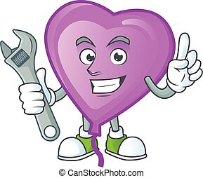 Smart and Professional Mechanic purple love balloon cartoon character. Vector illustration