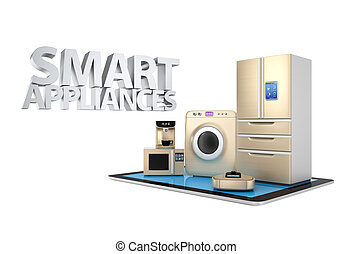 Smart appliances on tablet PC - Smart kitchen appliances and...