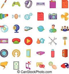 Smart application icons set, cartoon style