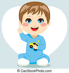 Cute smart little baby boy pointing index finger up having an idea and speaking