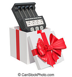 Smart Battery Charger inside gift box, gift concept. 3D rendering