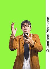smart, beweeglijk, op, telefoon, man, afsluiten, gebruik, groene, scherm