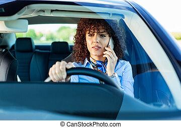 smart, bil., kvinna, ringa