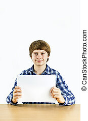 smart boy holding an empty white poster - smart boy at the...
