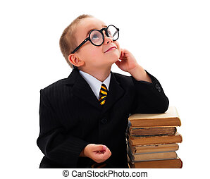 Smart Boy Looking Upwards - Kid with funny glasses looking...