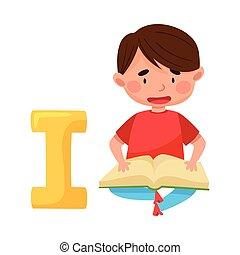 Smart Boy Pupil Sitting Near Big Alphabet Letter I and ...