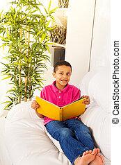 Smart boy reading