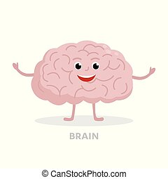 Smart brain cartoon character isolated on white background. Brain icon vector flat design. Healthy strong organ concept medical illustration.