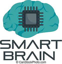 Smart brain logo, flat style