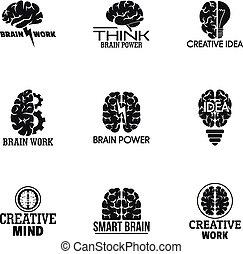 Smart brain logo set, simple style