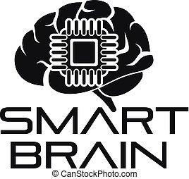 Smart brain logo, simple style