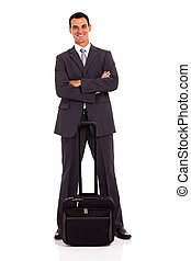 smart business traveler full length portrait on white