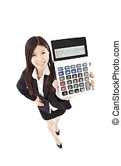 smart business woman holding calculator