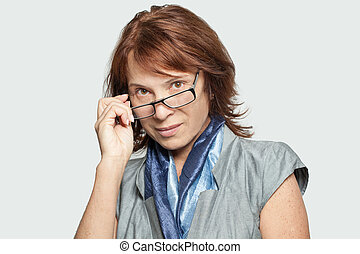 Smart business woman in glasses, portrait