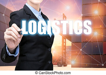 Smart Business woman is writing logistic concept with cargo container in shipping yard in background.