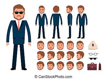 Smart businessman character creation set.