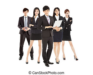 smart businessman holding laptop with business team