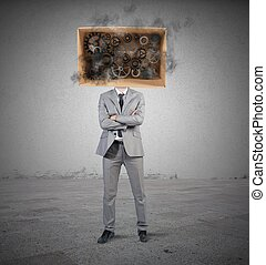 Smart businessman - Concept of smart businessman with gear...