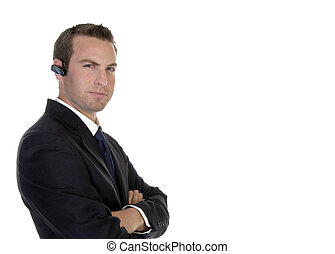 smart businessman with bluetooth