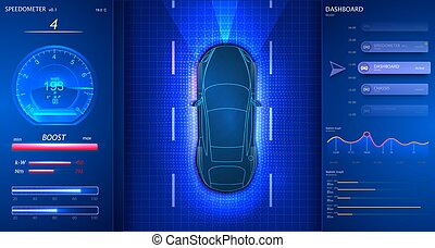 Smart car dashboard. Modern Speedometer Interface. Car goes ...