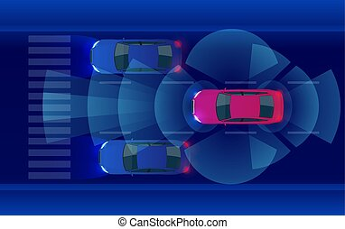 Smart car HUD, autonomous self-driving mode vehicle on metro city road iot concept with graphic sensor radar signal system and internet sensor connect.