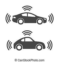 Smart Car with Wireless Sensor Icon Set. Vector