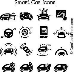 Smart car icons set