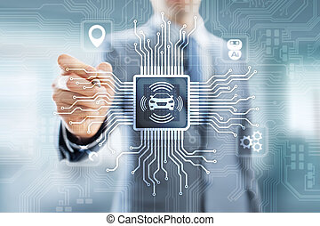 Smart car IOT and modern automation technology concept on virtual screen.