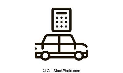 Smart Car Key Icon Animation. black Smart Car Key animated icon on white background
