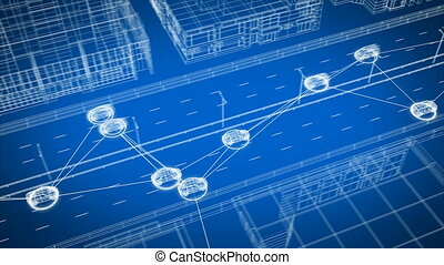 Smart Car System Data Exchanging with All Transport on City Street Seamless. Looped 3d Animation of Control System Connecting All the Cars on Abstract Highway in Digital Network. 4k Ultra HD 3840x2160