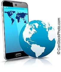 smart, cell, rörlig telefonera, värld, 3