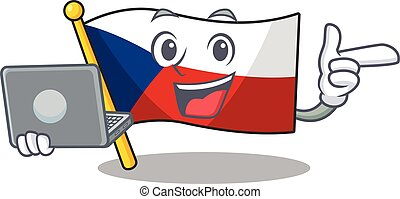Smart character of flag czechia working with laptop